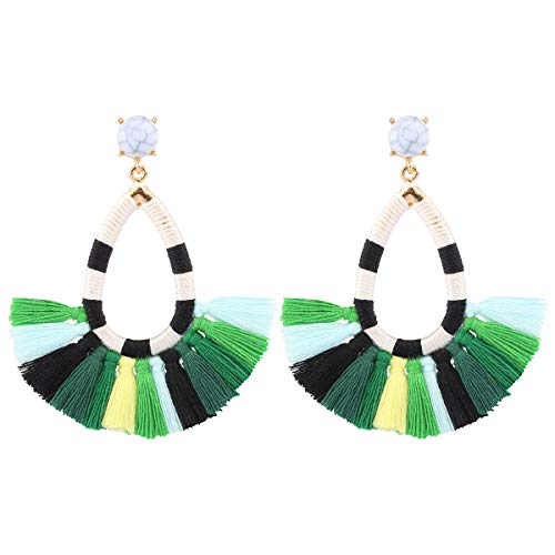 (Women's Beaded Tassel Earrings Long Fringe Drop Bohemian Earings Dangle 7 Colors (Color Green))