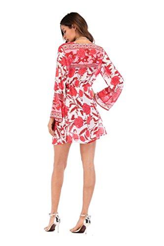 Rosso Cardigan floreale stampato da chiffon Donna bagno Coprire Beach COMVIP costume vwUnPq
