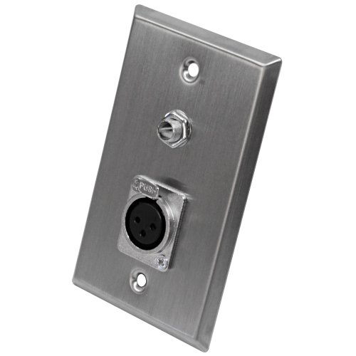 Seismic Audio SA-PLATE6 Stainless Steel Wall Plate with One 1/4-Inch TS Mono Jack and One XLR Female Connector ()