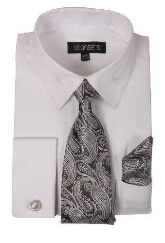 (George's Dress Shirt w/ Matching Tie,Hankie,Cuff & Cufflink AH619-WT-19-19 1/2-36-37)