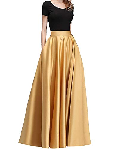 Diydress Women's Long Satin Maxi Skirt Floor Length High Waist Fomal Prom Party Skirts with Pockets Gold