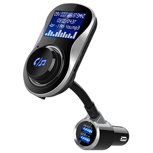 olagoya Bluetooth Car FM TransmitterAdapter, Wireless Radio Transmitterwith 1.4 Inch Display and Dual USB Charger, Support AUX Input/Output, TF Card Mp3 Player by olagoya
