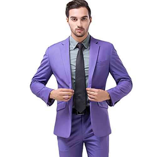 MAGE MALE Men's Plaid 3 Piece Suit Modern Slim Fit Two-Button Single Breasted Wedding Formal Party Blazer Vest Trouser Set, Purple, (Mens Two Button Single)