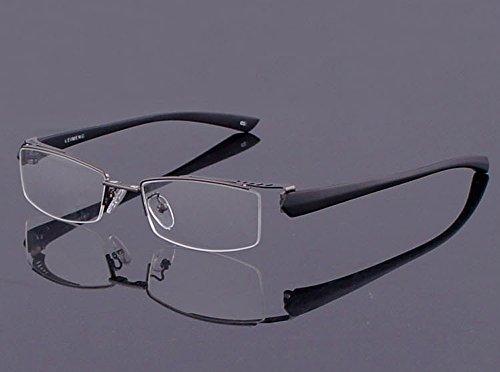 Agstum Mens Half Rimless Myopia Glasses Frame Magnetic Clip On Sunglasses (Gunmetal frame with 2pcs clip on, 53mm)