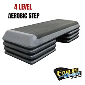 HCE Aerobic Stepper, 4 Levels Adjustable Step Platform with 3 Pairs of Large Blocks Riser, Premium Nonslip Step Deck Exerciser - Gym Workout Gear by Fitness and Sport