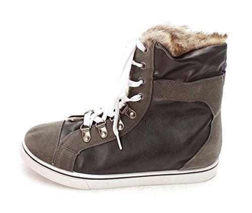 Shoedazzle Womens Terra Hight Top Stringate Moda Sneakers Grigie