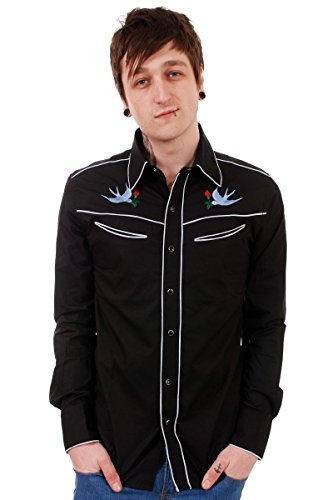 Run & Fly Mens 50's 60's Tattoo Swallows Rockabilly Western Rodeo Shirt (Small, (Slim Western Pearl Snap Shirt)