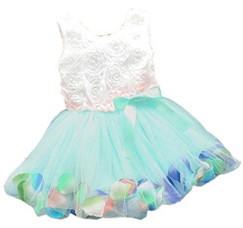 Kids Girls Princess Rose Garden Flower Petal Lace Ruffled Tulle Skirts Dresses Green 4T