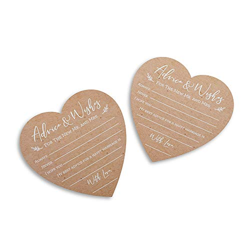 Kate Aspen 28443NA Wedding Advice Card – Heart Shape (Set of 50) Party Game kraft, white