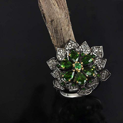 Natural 0.90 Ct. Pave Diamond Tsavorite Designer Cocktail Ring Solid 925 Silver Wedding Vintage Jewelry Friendship Day Gift For Her Same day Shipping