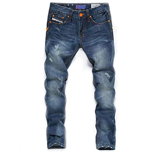 Fit Slim Stretch Pantaloni Casual Uomo Da Classiche Ragazzi Elasticizzata Con Strappati Jeans Blu Media Vita Dritti Eqnpt4qT