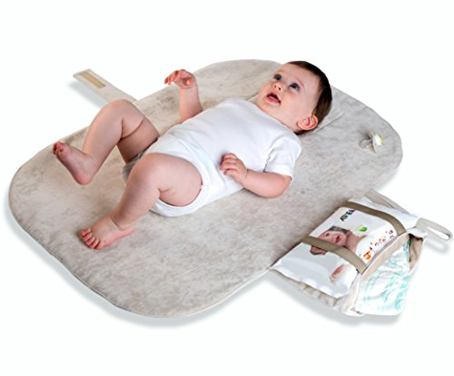 MoBaby Portable Changing Pad, Luxurious Soft-as-Suede Change Clutch, Machine Washable, Chic Cushioned Change Station for Baby, Infant, and Newborn, Light Gray Color