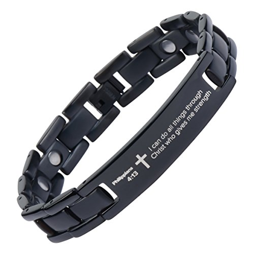 Crosstraxx Philippians 4:13 - Titanium Prayer Bracelet - Magnetic Therapy - Adjustable (Black-Colored)
