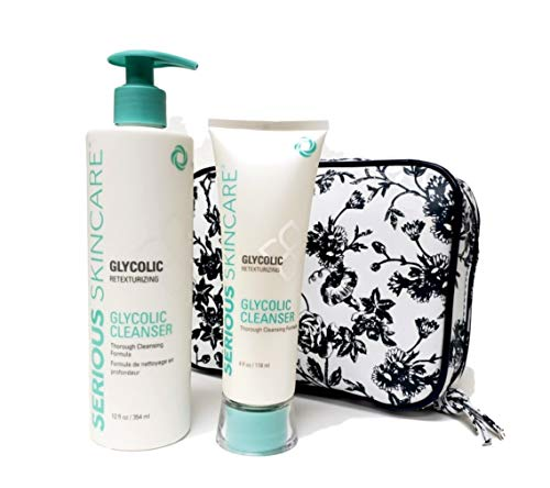 Serious Skincare Glycolic Cleanser Home Away DUO with White Stargazer Toile Print Fold Open Cosmetic Case