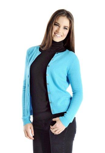Cashmere Boutique: Women's 100% Pure Cashmere Round Neck Cardigan Sweater (Color: Medium Gray, Size: - Cashmere Round Sweater Neck