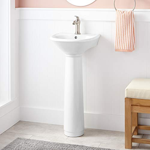 "Signature Hardware 273593 Farnham 15-1/2"" Porcelain Pedestal Bathroom Sink with Single Faucet Hole and Sink Overflow"
