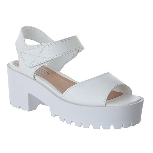 LADIES WOMENS CHUNKY WEDGE CLEATED SOLE STRAPPY PLATFORM PEEPTOE SANDALS SHOES White Faux Leather / Velcro