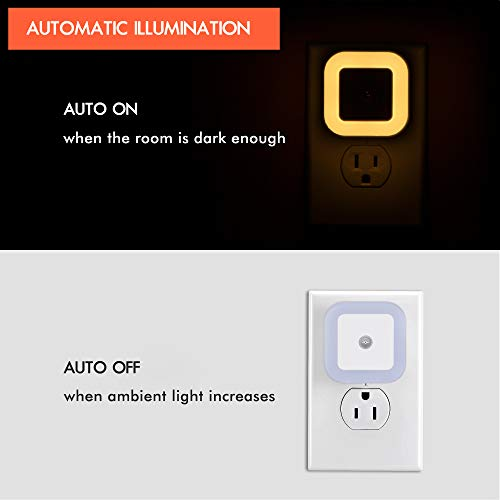 Sycees Plug-in LED Night Light Lamp with Dusk-to-Dawn Sensor for Bedroom, Bathroom, Kitchen, Hallway, Stairs, Warm White, 6-Pack