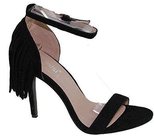 Womens Stiletto High Heel Tassel Sandals Ladies Open Toe Summer Ankle Shoes Black 8aoBIVWW