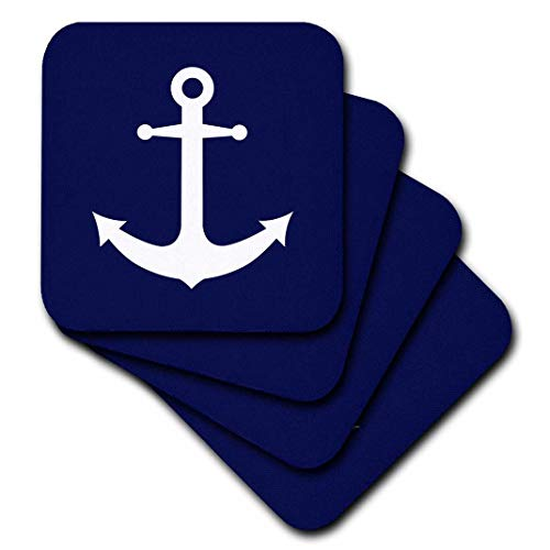 (3dRose cst_165798_2 Navy Blue and White Nautical Anchor Design-Soft Coasters, Set of 8 )