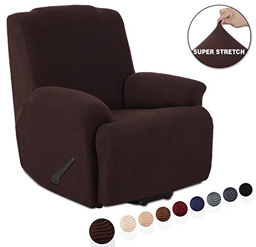 Recliner Leather Chocolate - TIANSHU Stretch Recliner Covers, Recliner Chair Slipcovers,1 Piece Furniture Cover for Recliner Couch Cover with Pocket (Recliner, Chocolate)