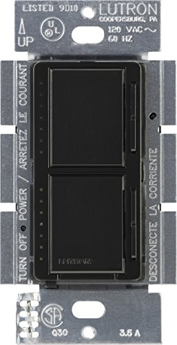 Lutron MA-L3L3-BL Maestro 300 Watt (top)/300 Watt (bottom) Single Pole Dual Dimmer, Black