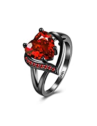 Haoze 18K Gold Plated Ring Heart Emerald Amethyst Inlay Fashion Eternal Theme Created Ring (Red, 6)