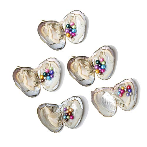 JNMM 5PC Pearl Oysters Freshwater Cultured with 10 Mix Color Round Love Wish Oysters with Pearls Inside 10 Colors (7-8mm), Valentines Mothers Day Birthday Gifts Pearl Wedding Party (Total 50 Pearls) by JNMM (Image #1)