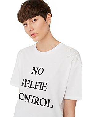 Mango Women's Pearls Message T-Shirt