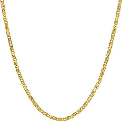 Lifetime Jewelry Gold Necklace for Women & Men [ 1.9mm Scroll Link Chain ] 20X More Real 24k Plating Than Other Dainty Pendant Chains - Cute & Durable with Lifetime Replacement Guarantee (22.0)