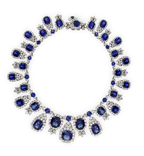 (Adastra Jewelry 925 Sterling Silver Georgian style necklace statement blue cushion halo bridal)