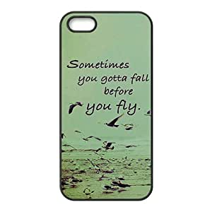 Proverb Cure Quote Sometimes You Gotta Fall Before You Fly Protective Rubber Printed Cover Case for iPhone 5,iPhone 5s Cases