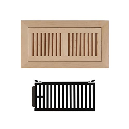 - WELLAND 4x10 Maple Wood Flush Mount Floor Register Vent Cover Grille Unfinished with Damper,3/4 Thickness