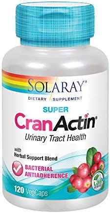 Solaray Super CranActin Cranberry Extract Bacterial Anti-Adherence Formula 400mg Healthy Urinary Tract Support with Added Vitamins 120 VegCaps