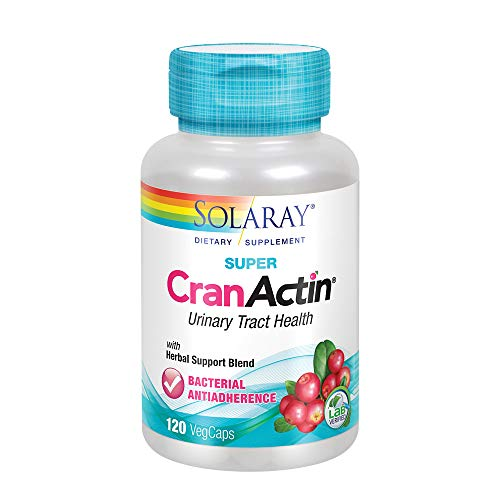 (Solaray Super CranActin Cranberry Extract | Bacterial Anti-Adherence Formula 400mg | Healthy Urinary Tract Support | with Added Vitamins | 120 VegCaps)