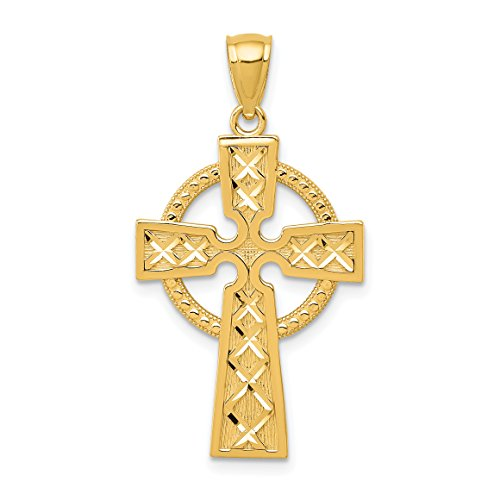 14k Yellow Gold Celtic Iona High Cross Pendant with Intersecting Lines 32x18mm