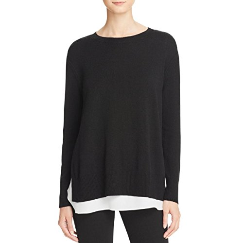 Private Label Womens Cashmere Layered Look Pullover Sweater Black (Black Label Cashmere Sweater)