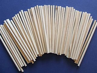 60 Mini 10cm Natural Wooden Dowels - 4mm Thick | Wooden Shapes for Crafts ()