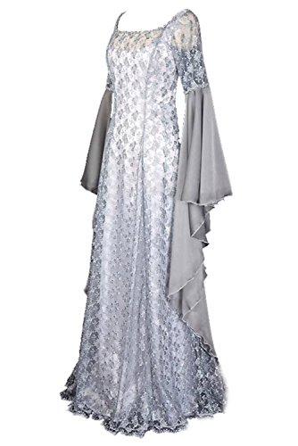 Women Renaissance Costumes Medieval Irish Dress Victorian Lace Retro Gown Small]()