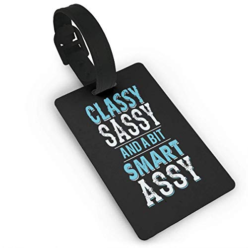 Rdkekxoel Unisex Premium Luggage Tags With Hand Strap Classy Sassy and A Bit Smart Assy Luggage Bag Tags Travel ID Identification Labels Set for Bags & Baggage