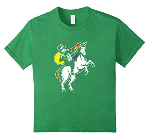 Kids St Patrick's Day Lepricorn Leprechaun Riding Unicorn T-Shirt 10 (St Pattys Day Shirt)