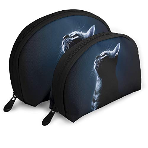 Jingclor Pack of 2 Womens Shell Cosmetic Bags - Cool Halloween Black Cat Portable Travel Makeup Handbag Waterproof Toiletry Organizer Storage Bags -