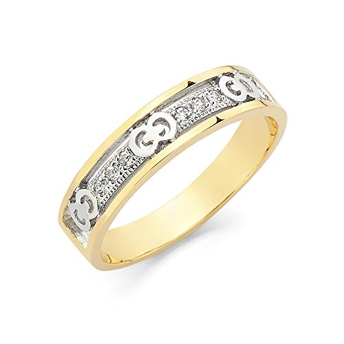 Jewels By Lux 14K White and Yellow Gold Ring Two Tone Cubic Zirconia CZ Ladies Anniversary Wedding Band Size 7