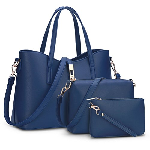 Blue 3 Handbag Women Bags Wallet Sets Navy Tote Bag Purse Shoulder qvPgv