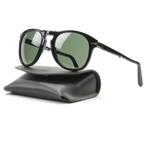 Persol 0714 95/31 Gloss Black 0714 Round Sunglasses Lens Category 3 Size 54mm