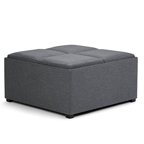 Avalon Coffee Table Storage Ottoman, Linen/Slate Gray