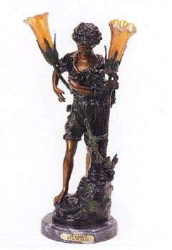 ''Les Amants'' (Boy) 24''H Distinctive Solid Bronze Sculptural Lamp by A. Moreau by Artistic Solutions