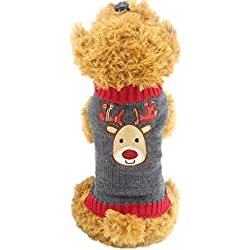 Mikey Store Christmas Pet Dog Gray Deer Pet Sweater with Hood Warm Cute Sweater Clothes (Gray, S)