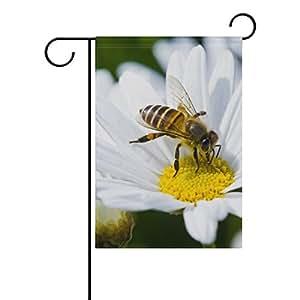 ALAZA - Bandera de doble cara con diseño de flor de margarita blanca y abeja de poliéster para casa o jardín, 30,48 x 18,05 x 101,6 cm, para boda, fiesta, todo tipo de clima