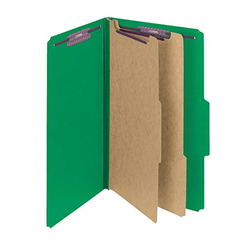 "Smead Pressboard Classification File Folder with SafeSHIELD Fasteners, 2 Dividers, 2"" Expansion, Legal Size, Green, 10 per Box (19033)"
